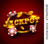 golden jackpot text with 3d... | Shutterstock . vector #674605048