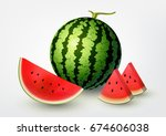 watermelon and sliced... | Shutterstock .eps vector #674606038