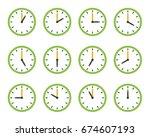 set of clock flat icon | Shutterstock .eps vector #674607193