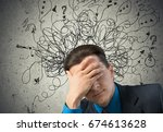 business man think. | Shutterstock . vector #674613628