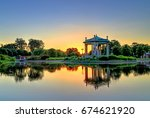 the bandstand in forest park ... | Shutterstock . vector #674621920