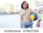 beautiful african american...   Shutterstock . vector #674627104