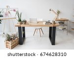 florist workplace with board ... | Shutterstock . vector #674628310