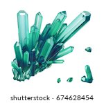 3d render  emerald green... | Shutterstock . vector #674628454