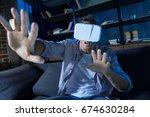 emotional energetic man having... | Shutterstock . vector #674630284