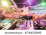 dj mixing outdoor at beach... | Shutterstock . vector #674632840