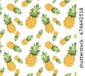 seamless pattern of pineapples... | Shutterstock .eps vector #674642518