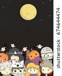 cute halloween party card ...   Shutterstock .eps vector #674644474