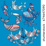 nautical vector set of abstract ... | Shutterstock .eps vector #674647090