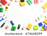 kids toys frame with... | Shutterstock . vector #674648299
