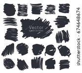 set of black ink brush strokes... | Shutterstock .eps vector #674648674