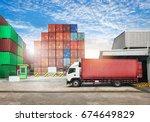 cargo transportation unloading ... | Shutterstock . vector #674649829