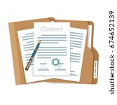 signed paper deal contract icon ... | Shutterstock .eps vector #674652139