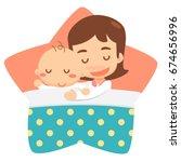 sleeping mom and baby. flat...   Shutterstock .eps vector #674656996