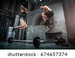 athletes training in a gym  ... | Shutterstock . vector #674657374