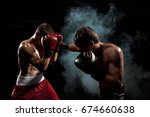 two professional boxer boxing...   Shutterstock . vector #674660638