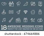set of raster wedding love...   Shutterstock . vector #674664886