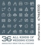 all kinds of wedding marriage... | Shutterstock . vector #674665030