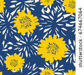 Stock vector seamless repeat pattern with flowers in white and yellow on blue background hand drawn fabric 674667064
