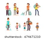 group of people adult and kids... | Shutterstock .eps vector #674671210