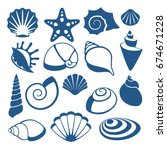 sea shell vector silhouette... | Shutterstock .eps vector #674671228