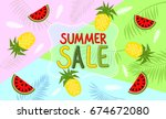 summer banner with watermelon... | Shutterstock .eps vector #674672080