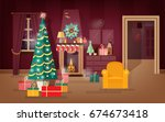 decorated winter holidays... | Shutterstock .eps vector #674673418