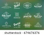 set of raster travel tourism... | Shutterstock . vector #674676376