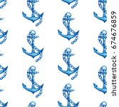 vintage seamless pattern with... | Shutterstock . vector #674676859