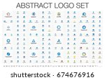 abstract business logo set.... | Shutterstock .eps vector #674676916