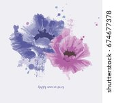 watercolor flowers background | Shutterstock .eps vector #674677378
