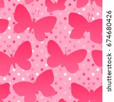 vector butterfly silhouette... | Shutterstock .eps vector #674680426