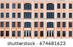 beautiful facade of a building... | Shutterstock . vector #674681623