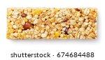 top view of healthy granola bar ... | Shutterstock . vector #674684488