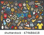 colorful vector hand drawn... | Shutterstock .eps vector #674686618