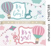 baby shower card with air... | Shutterstock .eps vector #674687188