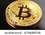 bitcoin on dark background   Shutterstock . vector #674688538