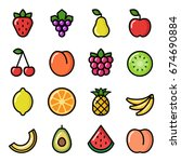 set of fruit icons. vector...