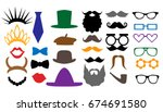 mustaches  lips  eyeglasses ... | Shutterstock .eps vector #674691580