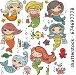 vector summer set of cute... | Shutterstock .eps vector #674697778