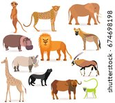 set with such african animals... | Shutterstock .eps vector #674698198