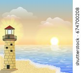 a burning lighthouse on the... | Shutterstock .eps vector #674700208