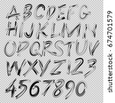 handwritten brush font  letters ... | Shutterstock .eps vector #674701579