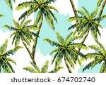beautiful seamless vector... | Shutterstock .eps vector #674702740