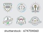 retro design logotype set. diy... | Shutterstock . vector #674704060