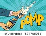 opening champagne bottles. pop... | Shutterstock .eps vector #674705056