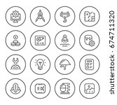 set round line icons of... | Shutterstock .eps vector #674711320
