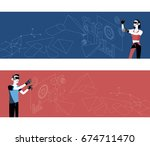 set of horizontal banners.... | Shutterstock .eps vector #674711470