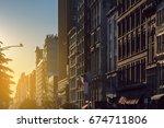 sunset light shines on a block...   Shutterstock . vector #674711806