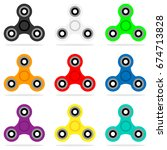 spinner icon set in flat style. ... | Shutterstock .eps vector #674713828